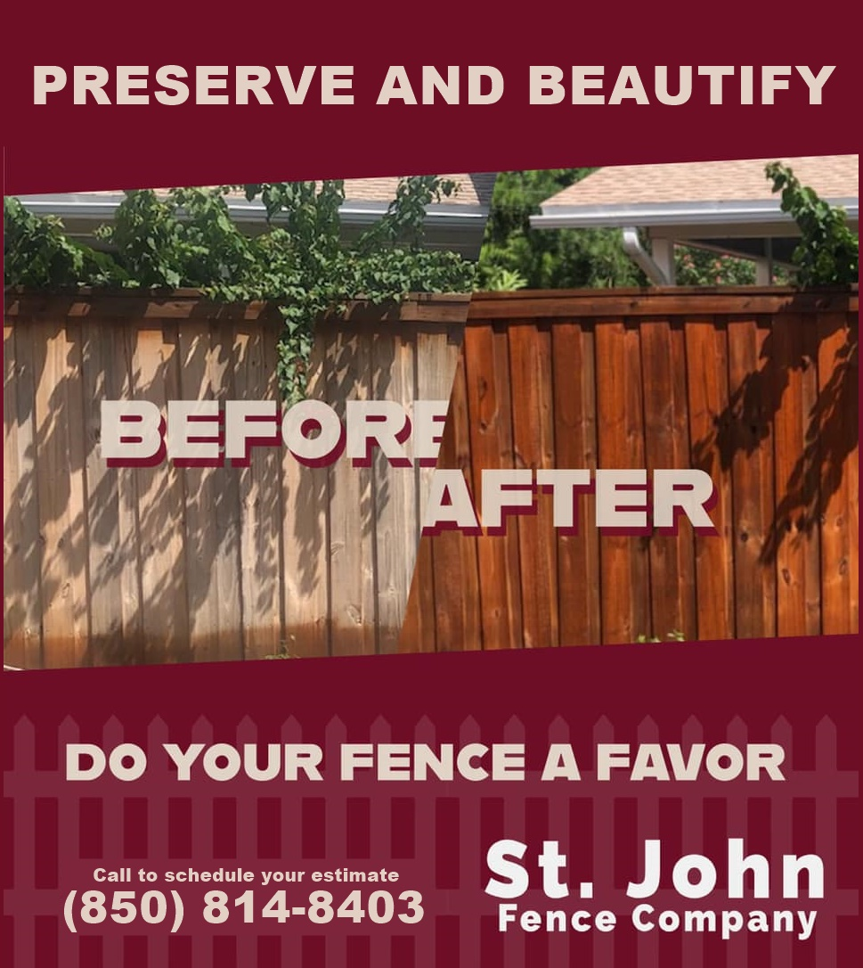 Before and after fence and deck stain