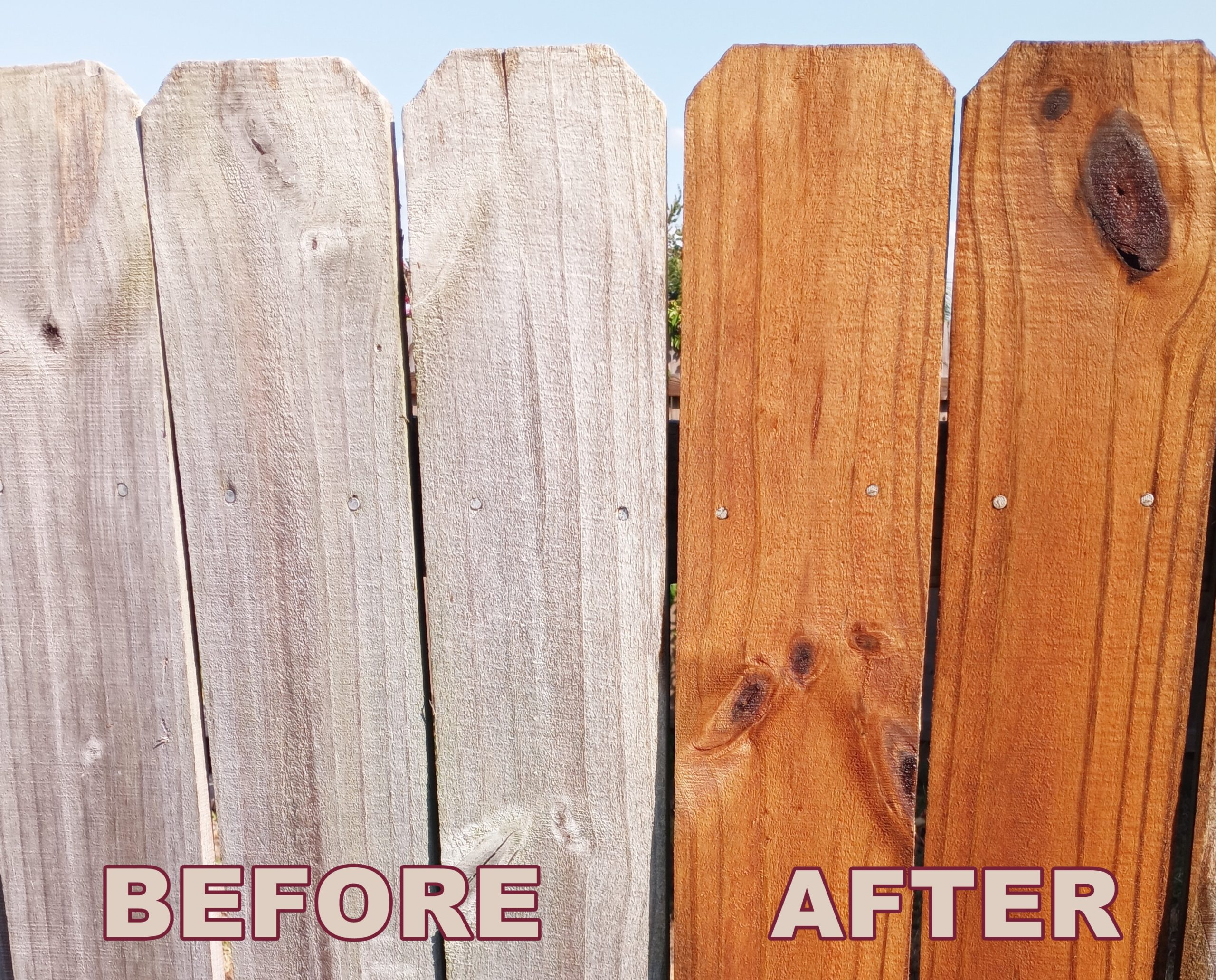 Fence Stain before and after